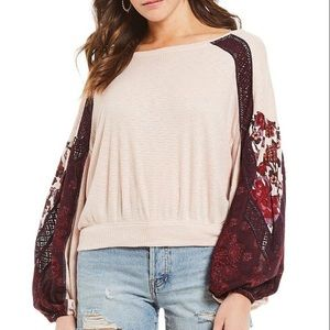 Free People Casual Textured Print Sleeve Clash Top